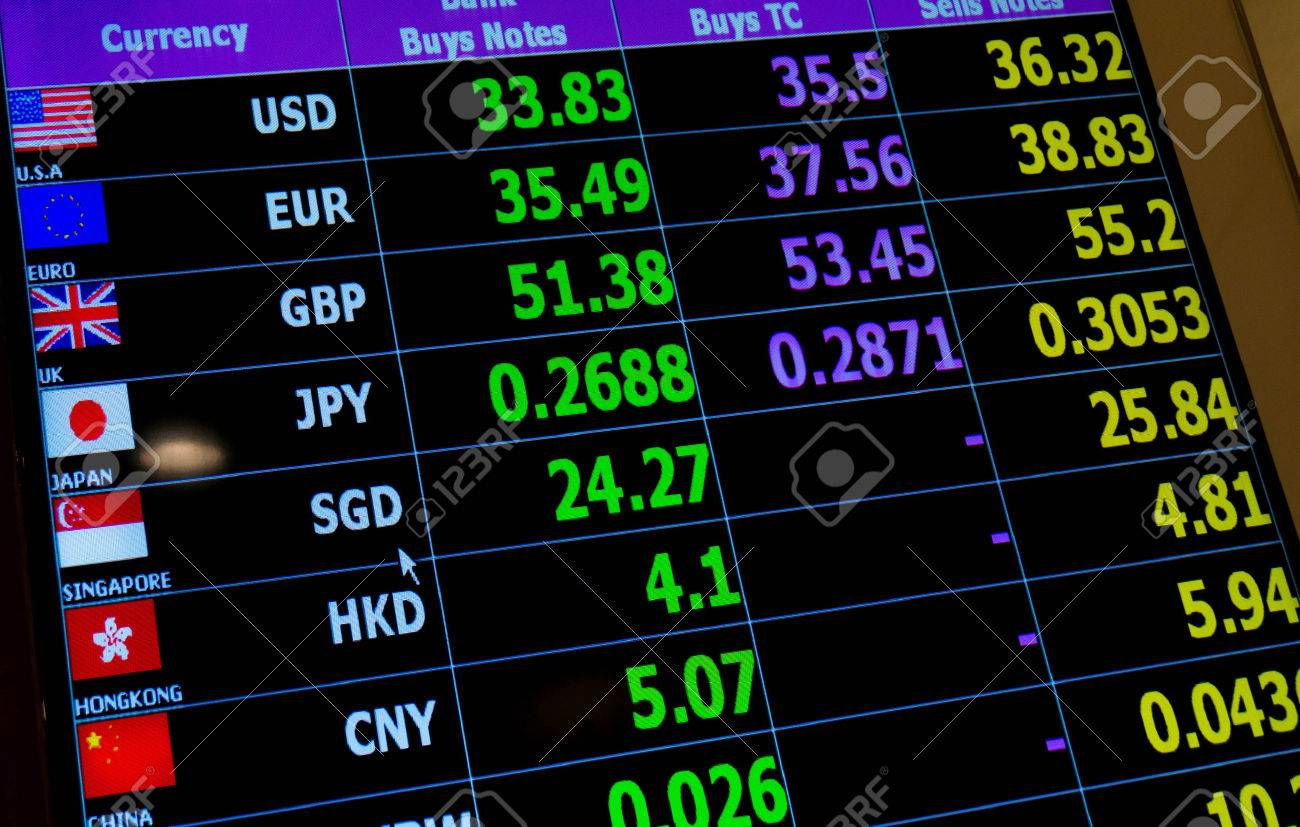 b26a8e1b89347 currency exchange rate on digital LED display board Stock Photo - 58988143