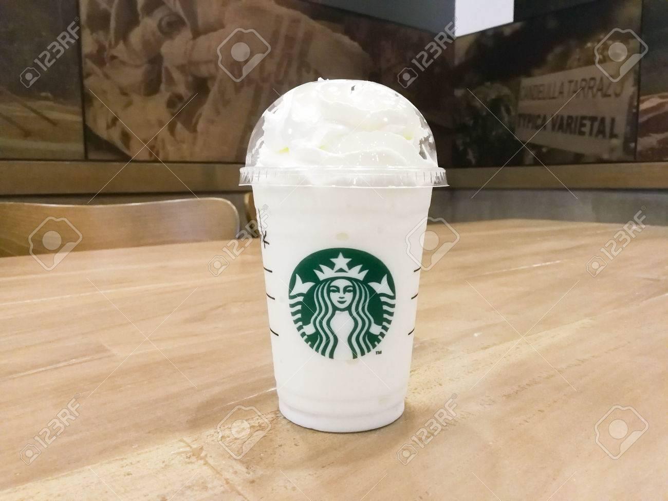 Bangkok Thailand Aug 30 2017 A Cup Of Starbucks Coffee