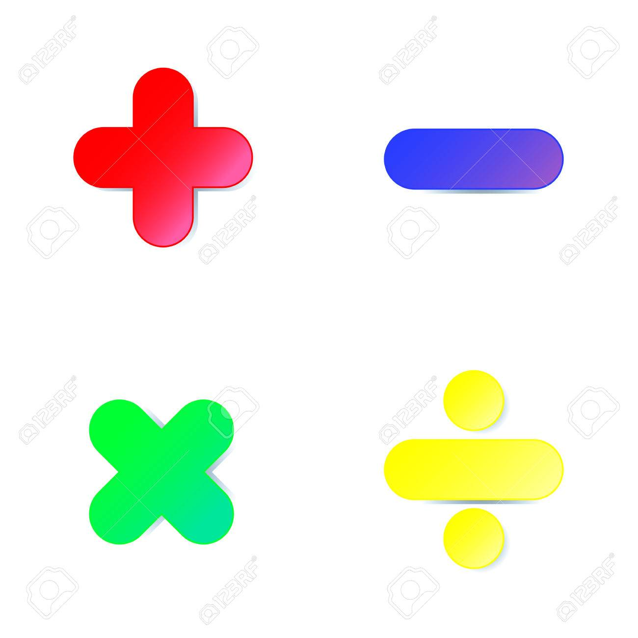 Math symbol : plus,minus,multiply,divide in colorful paper cut on white background - 61101216