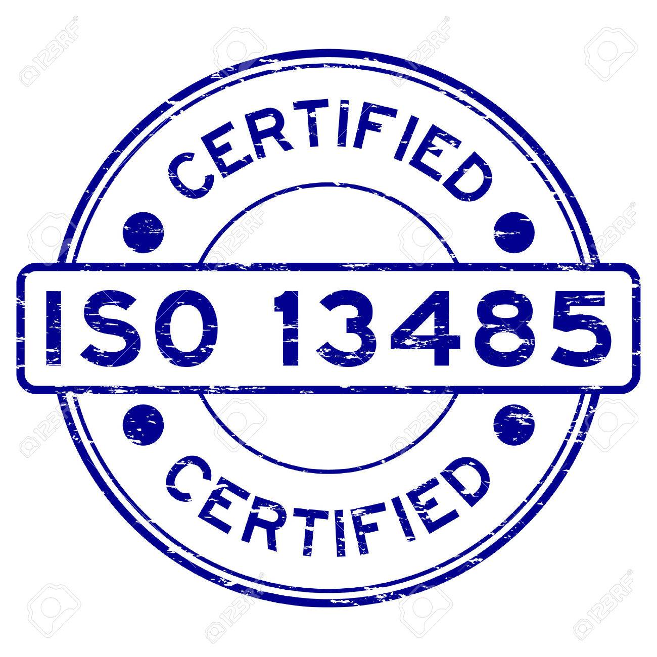 Grunge Blue Iso 13485 Certified Rubber Stamp Royalty Free Cliparts