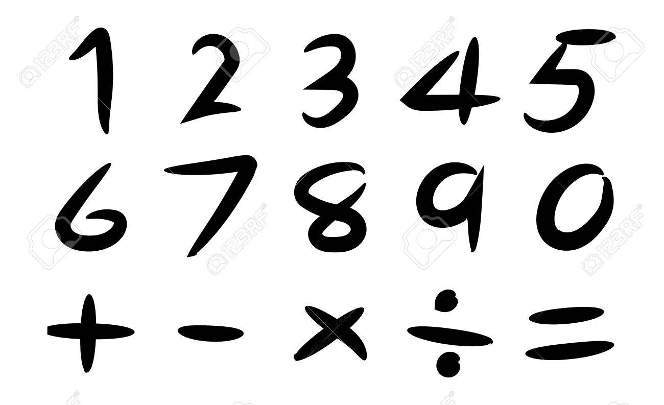 Black Hand Drawing Number And Basic Math Symbol On White Background ...