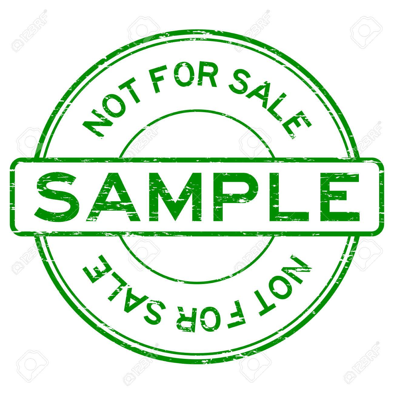 Grunge blue round sample not for sale rubber stamp royalty free.