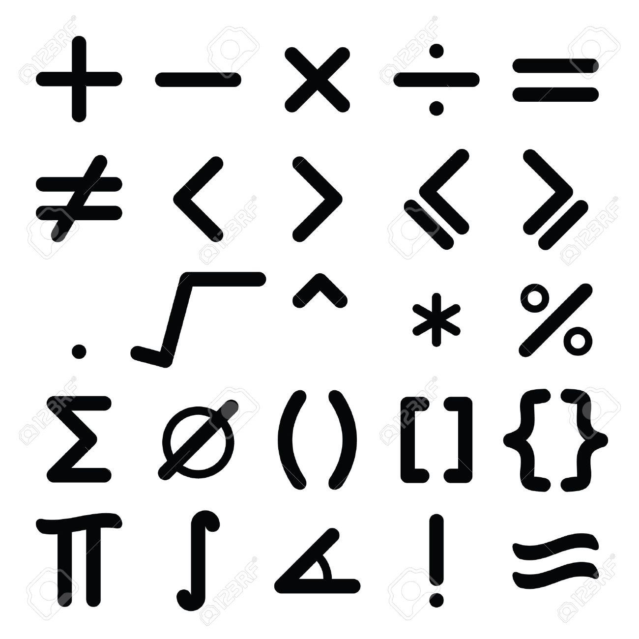 black mathematical symbol icon set on white background royalty free