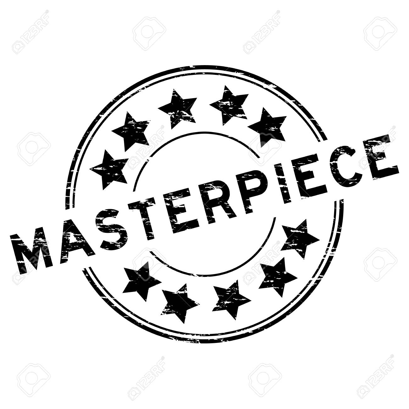 Grunge Black Masterpiece Round Rubber Stamp On White Background Stock Vector