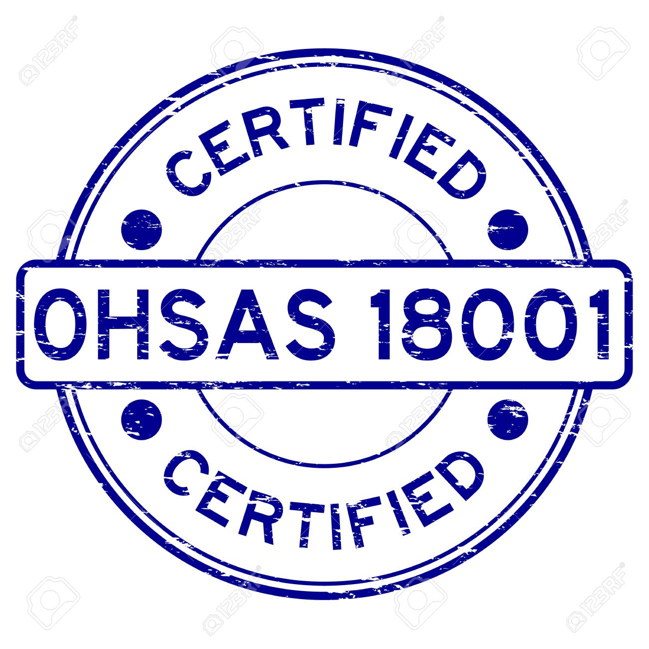 Grunge Blue OHSAS 18001 Certified Round Rubber Stamp Royalty Free ...