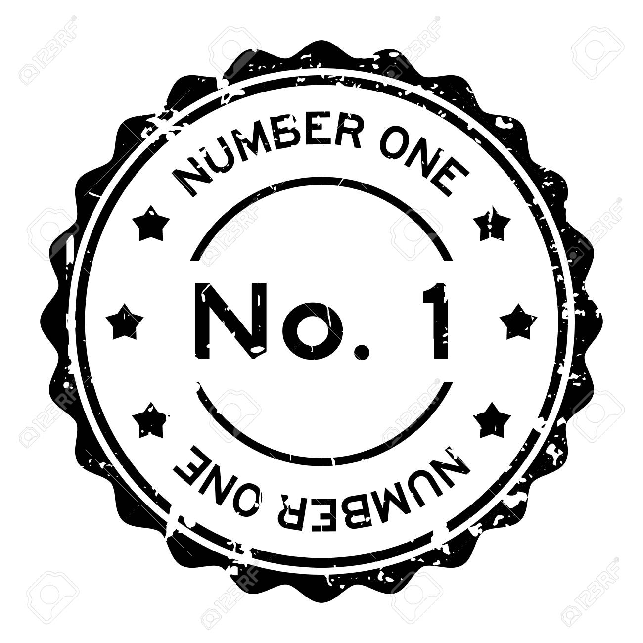 Grunge Black No 1 Number One Round Rubber Seal Stamp On White