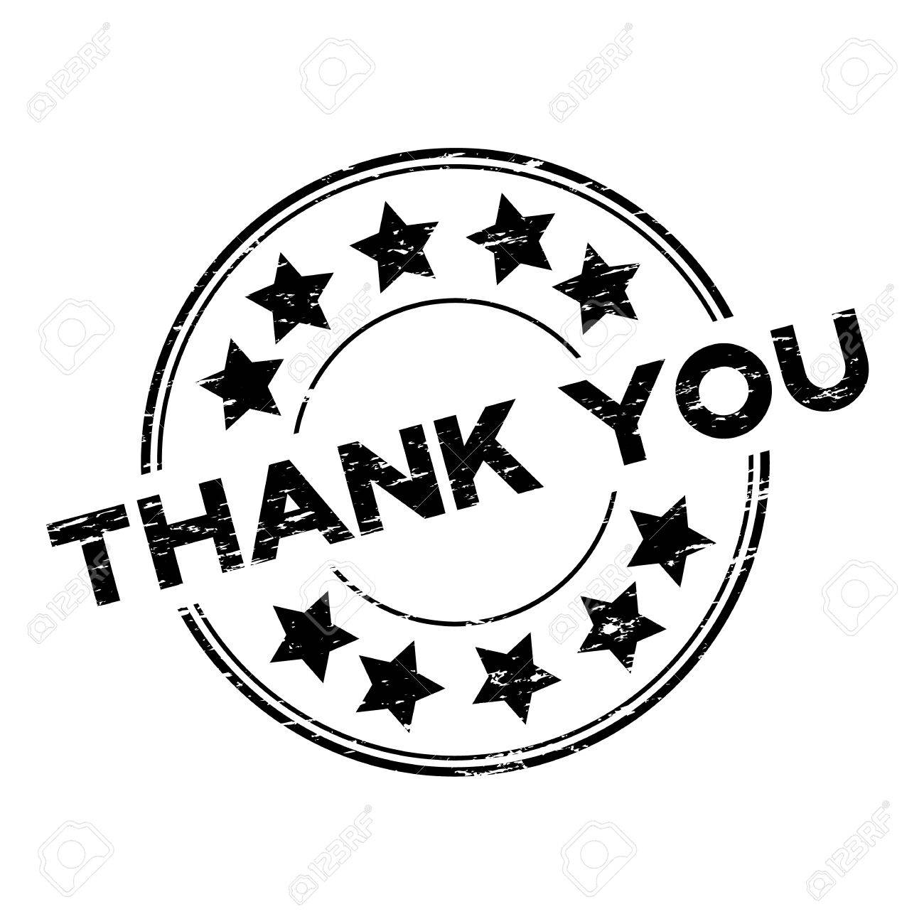 Grunge black thank you with star icon round rubber stamp on white background - 71033023