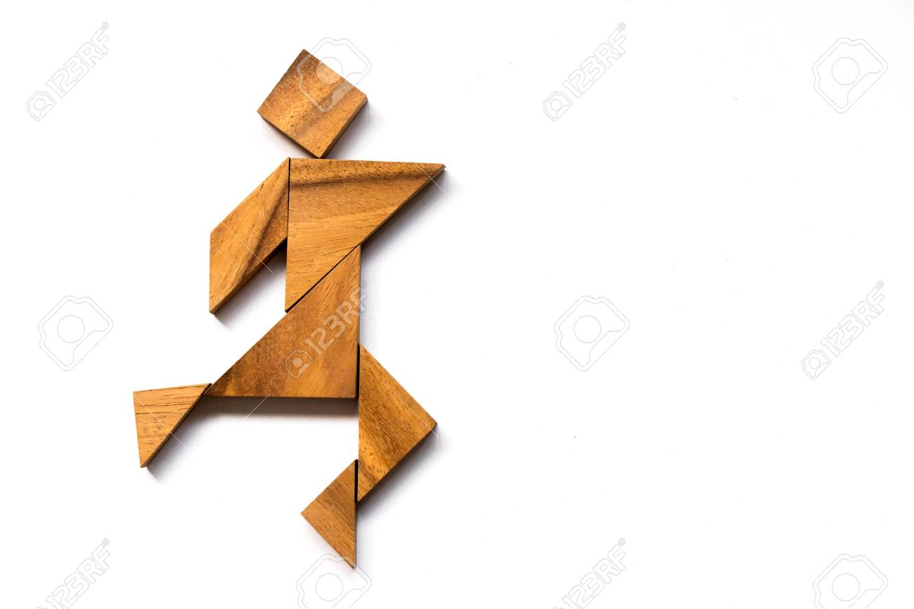 Wooden tangram as happy man shape on white background (Concept as business has success) - 77179249