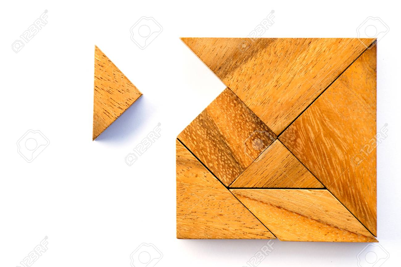 Wooden tangram puzzle in square shape wait for fulfill on white background - 78617441