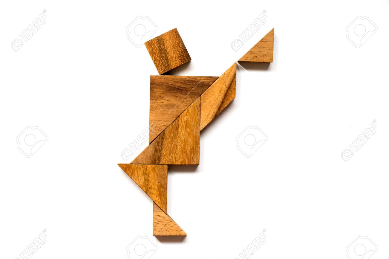 Wooden tangram puzzle in dancing man shape on white background - 80170805