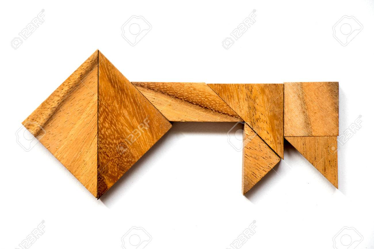 Wooden tangram puzzle in key shape on white background (Concept of data security, authurized access, safety) - 80374764