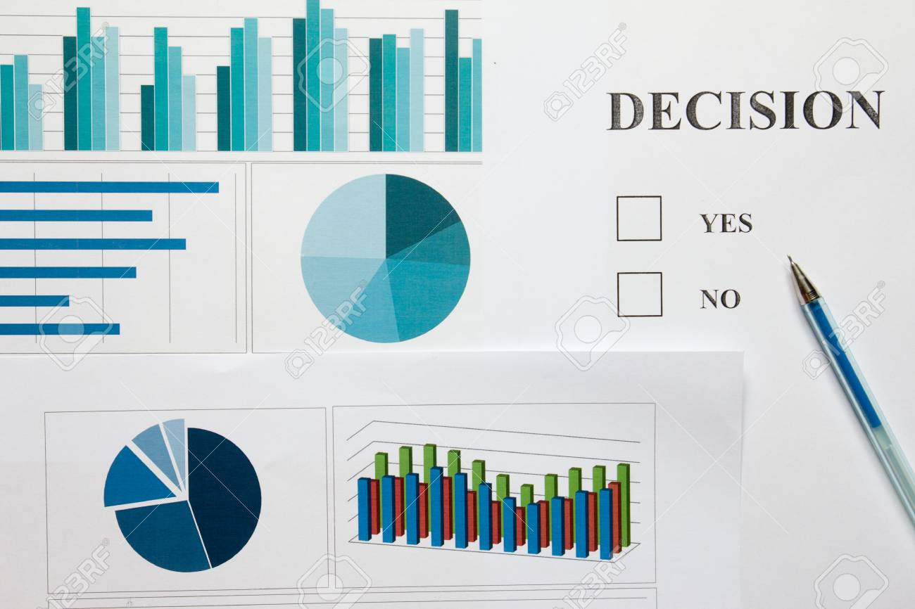 Decision Paper With Yes No Choice And Financial Graph Chart