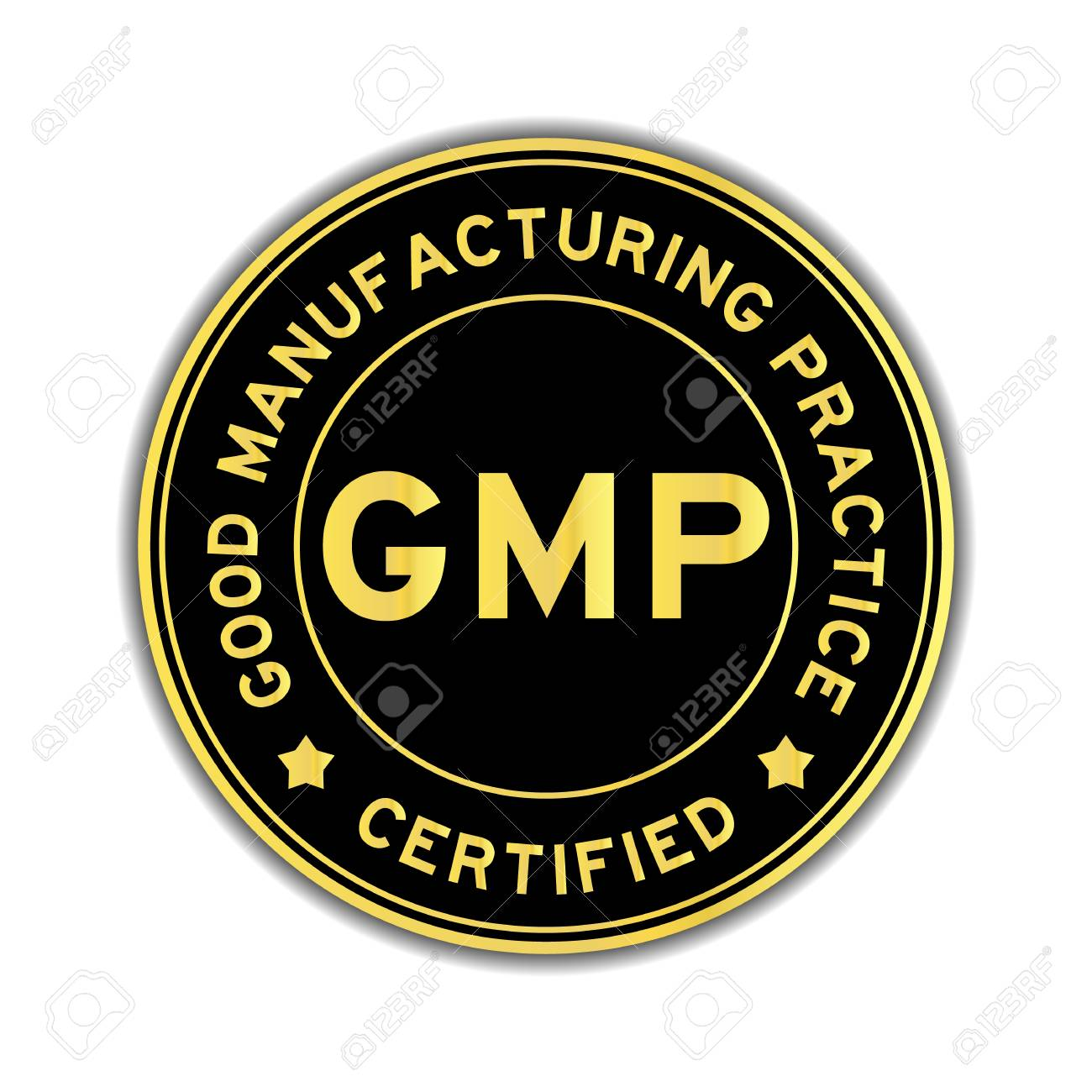 Black and gold color GMP (Good Manufacturing Practice) certified round sticker on white background - 83557916