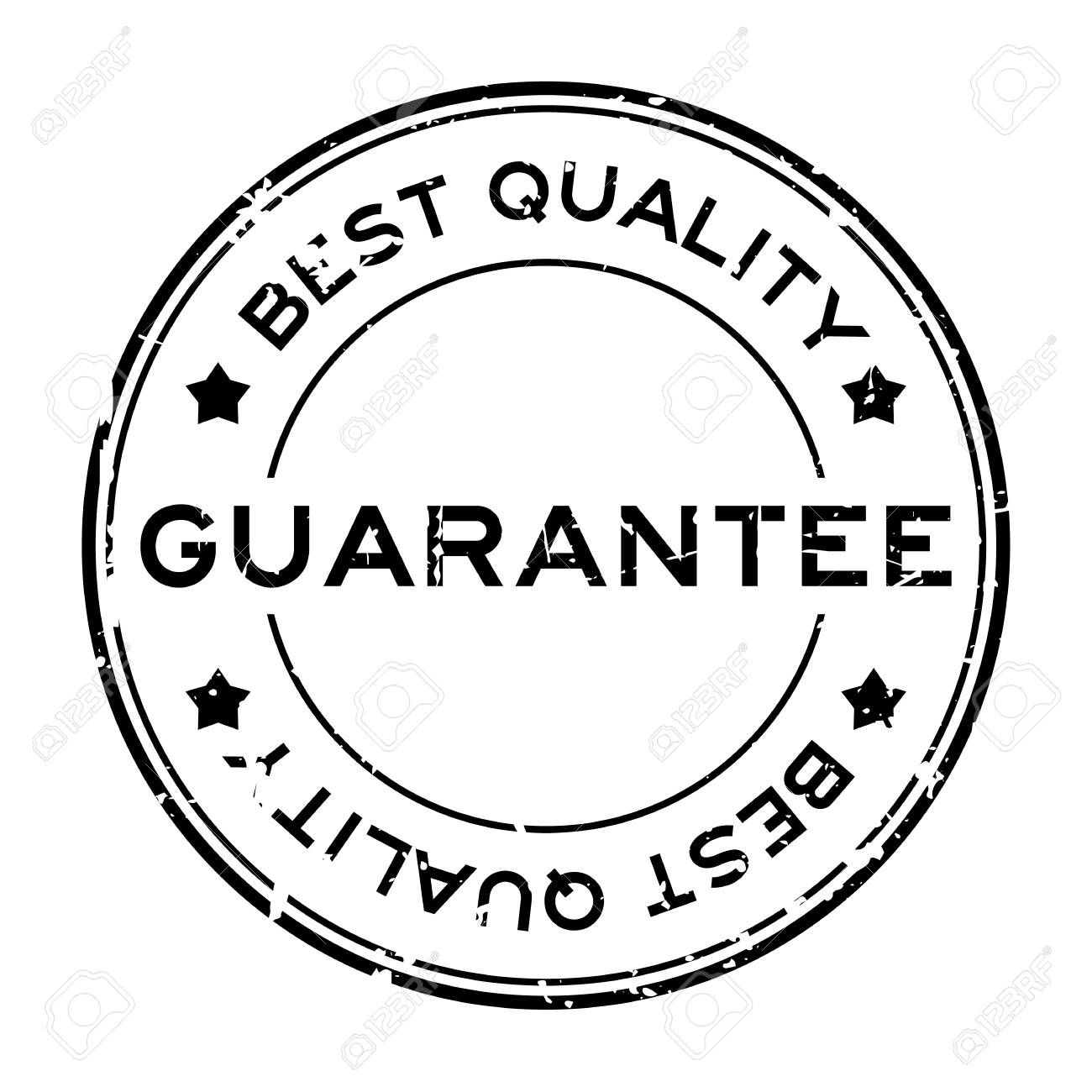 grunge black best quality guarantee round rubber seal stamp on