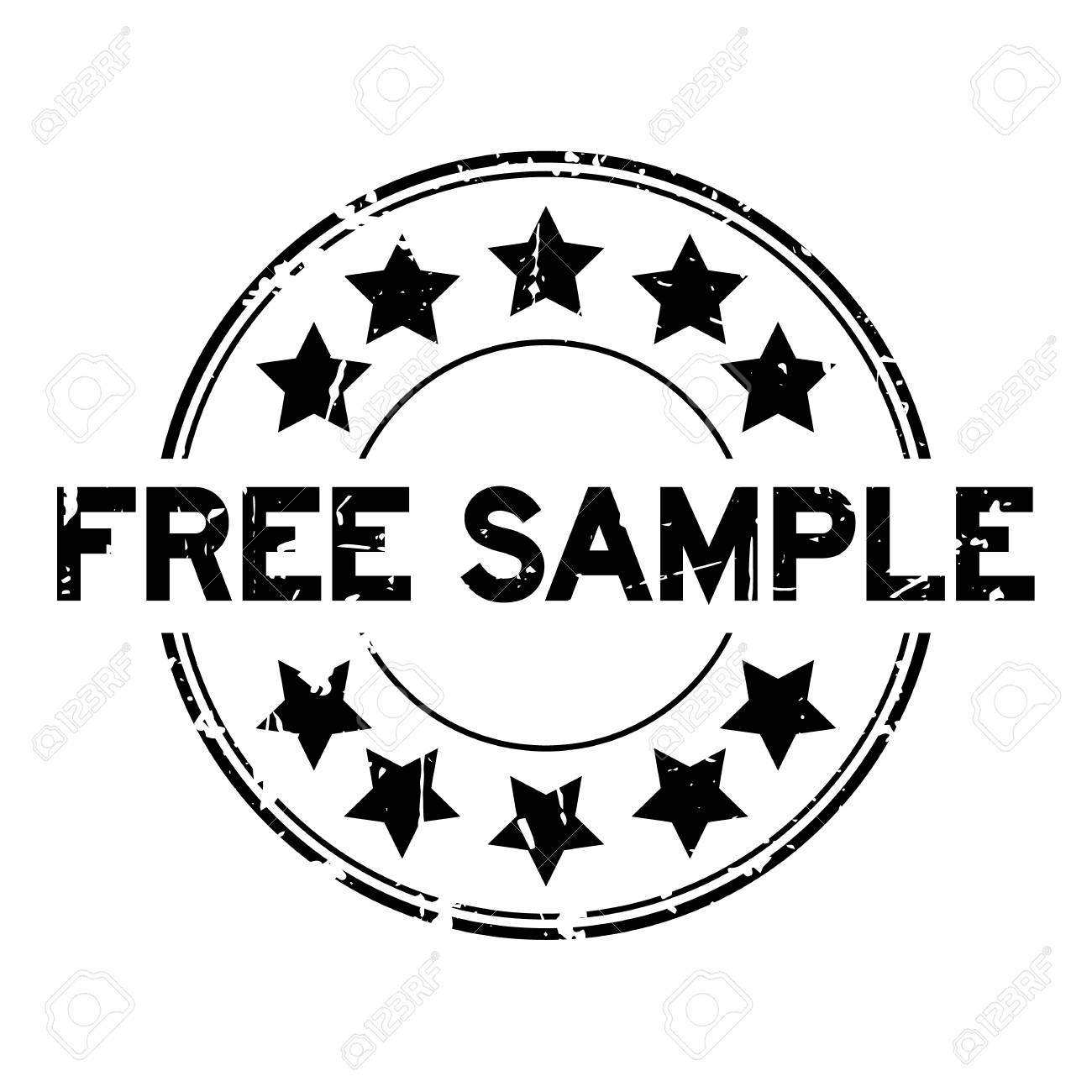 grunge black free sample with star icon round rubber seal stamp on white background stock vector