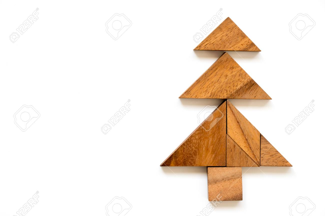 Wood Tangram Puzzle In Christmas Tree Shape On White Background ...