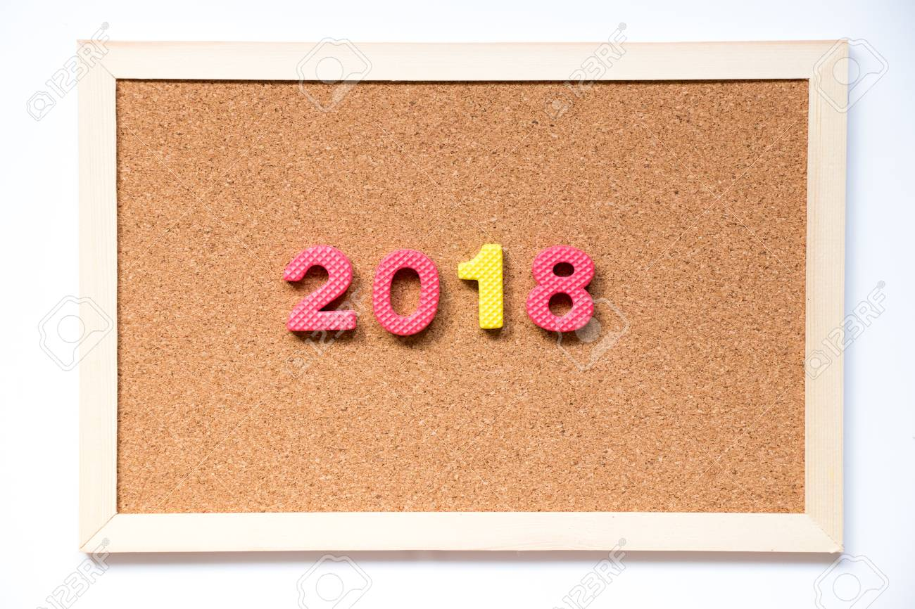 cork board with number as 2018 wording on white background stock photo 90215248