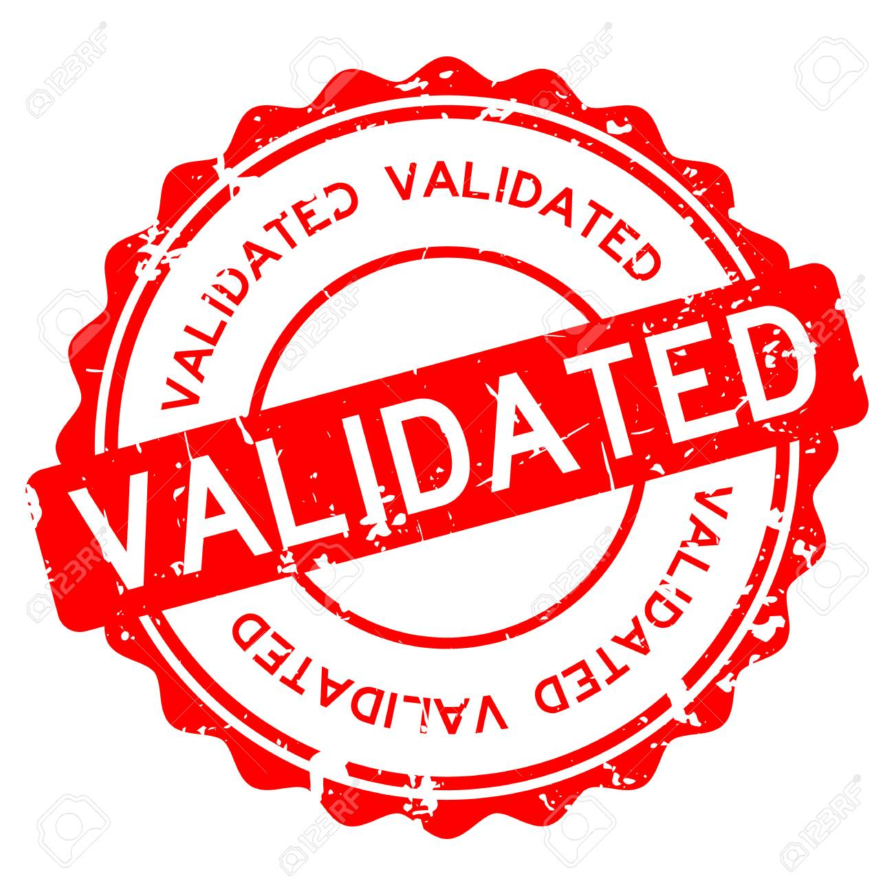 Grunge Red Validated Wording Round Rubber Seal Stamp On White Background Stock Vector