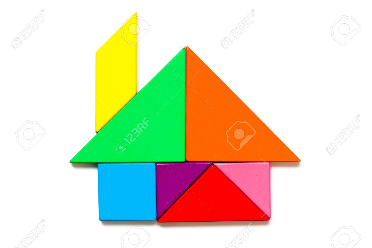 Color wood tangram puzzle in home shape on white background - 100377954