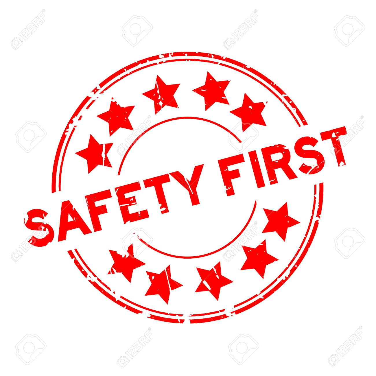 Grunge Red Safety First Wording With Star Icon Round Rubber Seal Royalty Free Cliparts Vectors And Stock Illustration Image 100147349