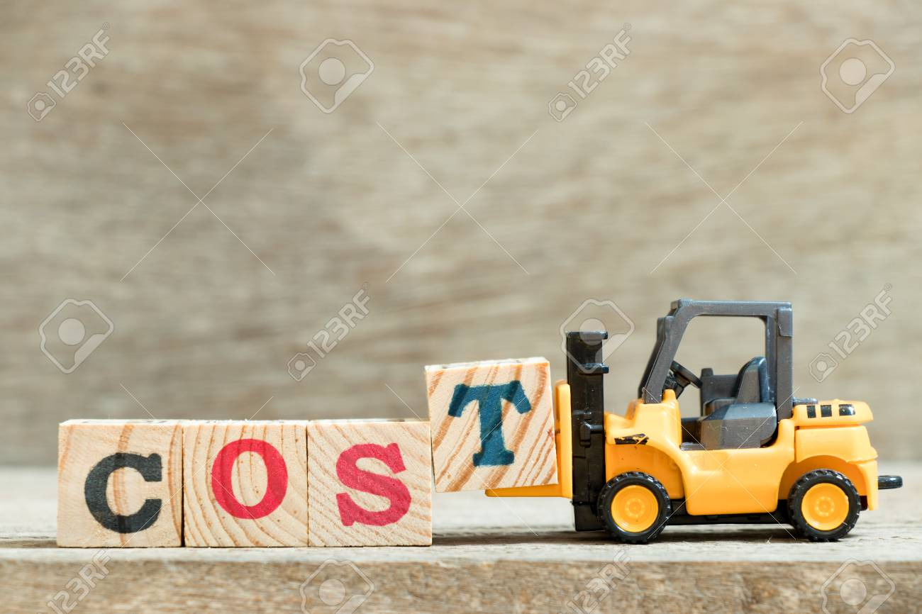 Toy Yellow Forklift Hold Block Letter T To Complete Word Cost