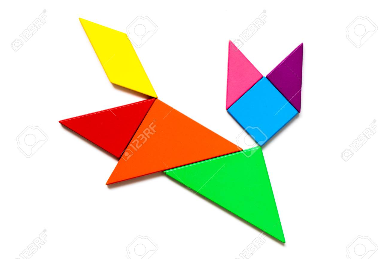 color wood tangram puzzle in cat shape on white background stock photo 101101687