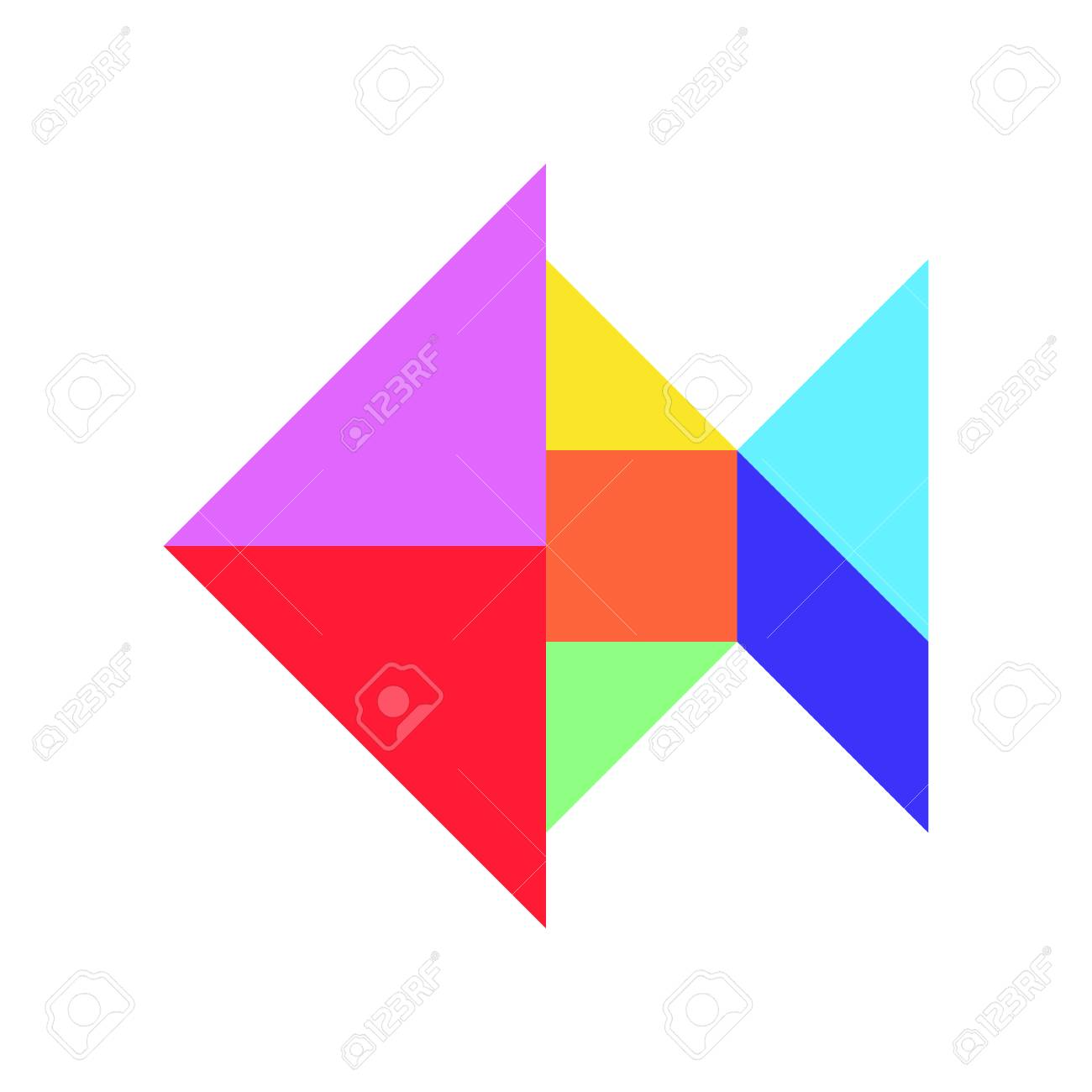 Color Tangram In Fish Shape On White Background (Vector) Royalty ...