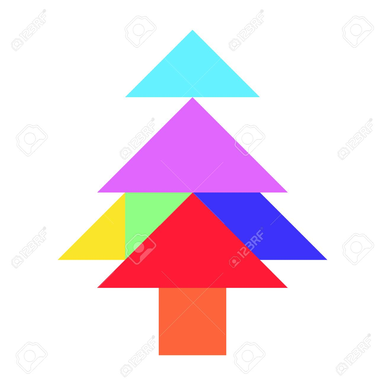 Color Tangram Puzzle In Pine Or Christmas Tree Shape On White ...