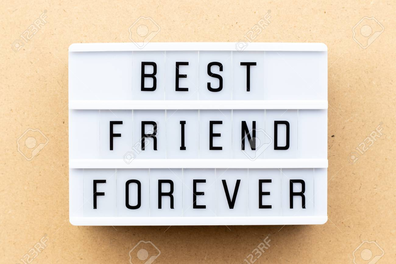Light Box With Word Best Friend Forever On Wood Background Stock