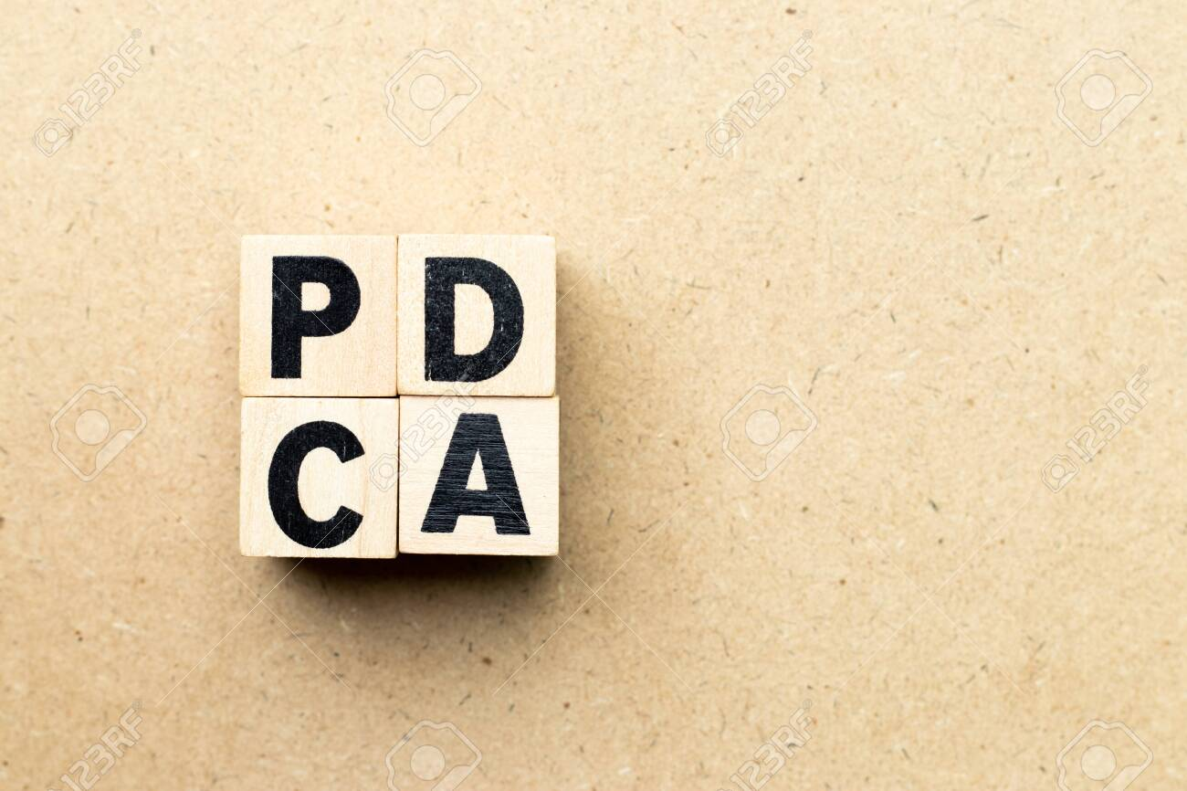 Alphabet letter block in word PDCA (business abbreviation of plan do check act) on wood background - 124578703