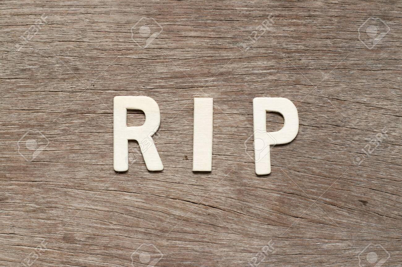 Alphabet letter in word RIP (abbreviation of rest in peace) on