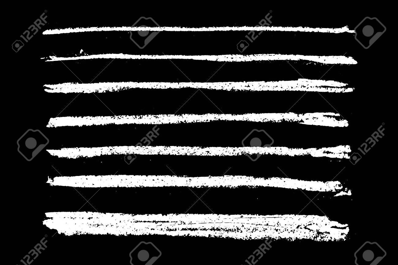 Set of grunge white chalk texture stripe brush on black background - 144663643