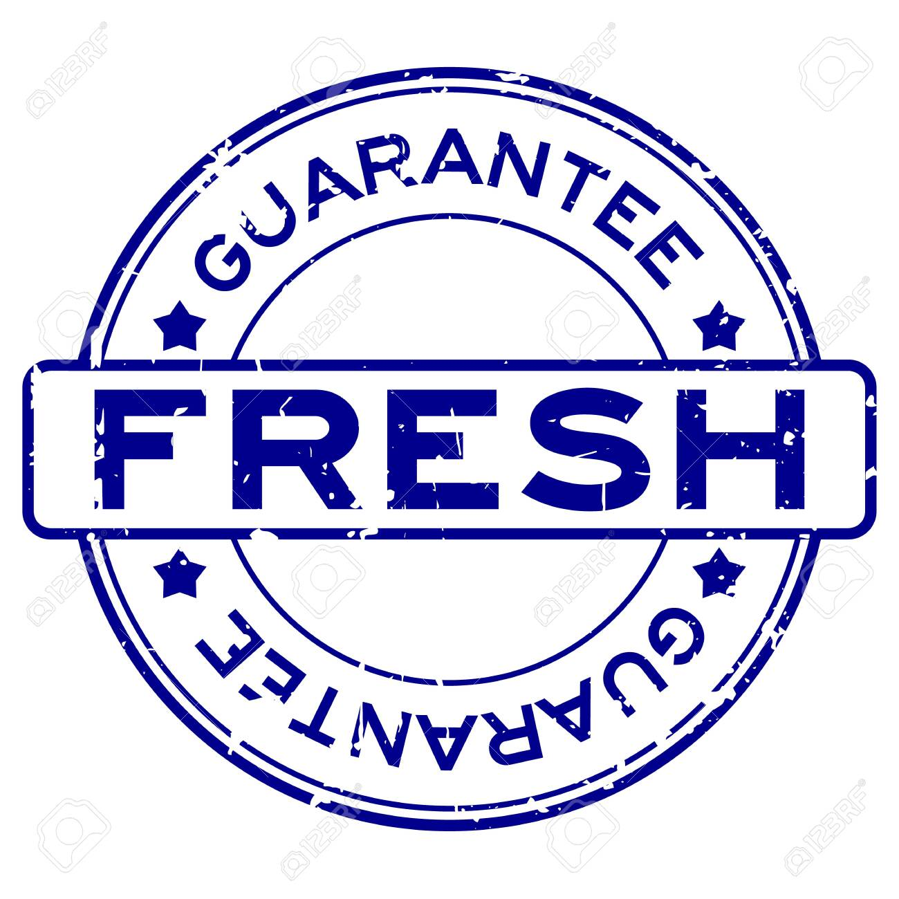 Grunge blue fresh guarantee word round rubber seal stamp on white background - 146807143