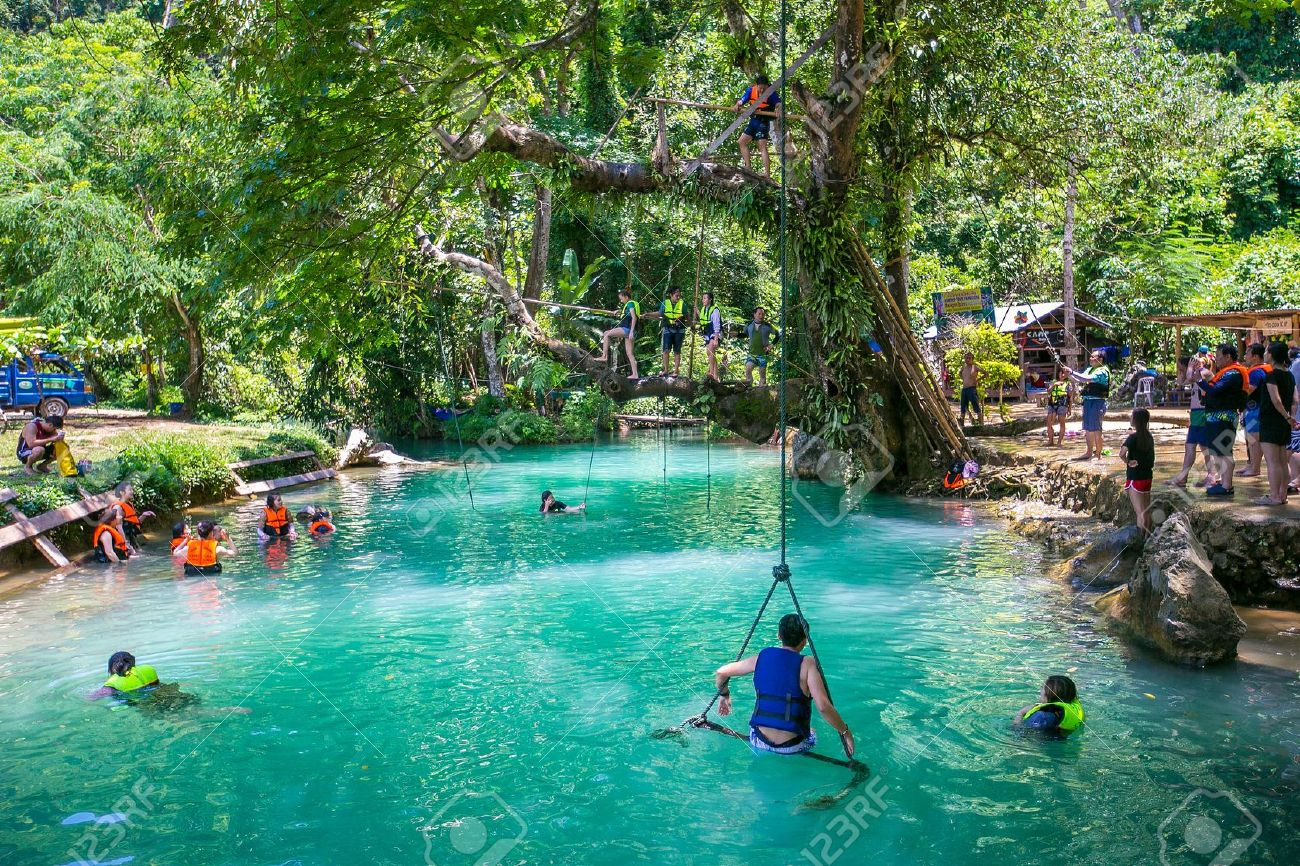 blue lagoon in vang vieng, laos stock photo, picture and royalty