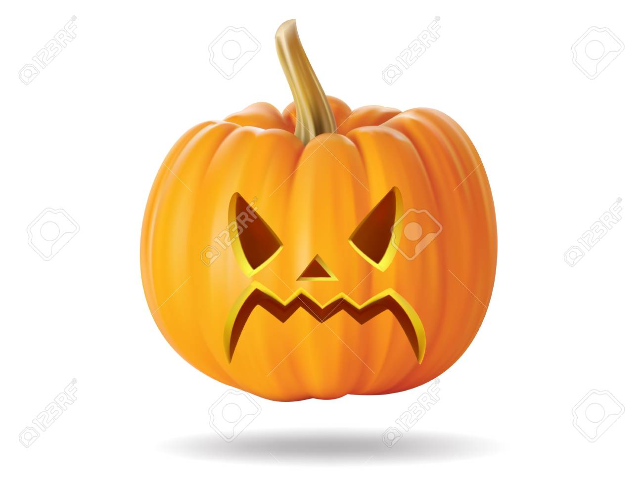 Halloween pumpkin with scary face on  white Stock Vector - 22172398