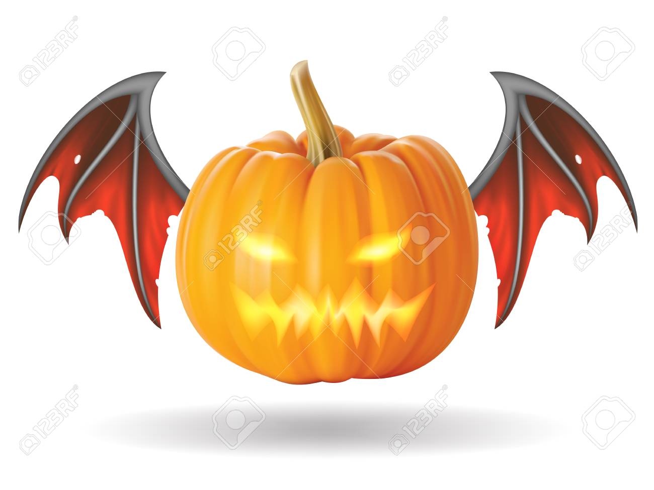 Halloween pumpkin with scary face on  white Stock Photo - 22349218