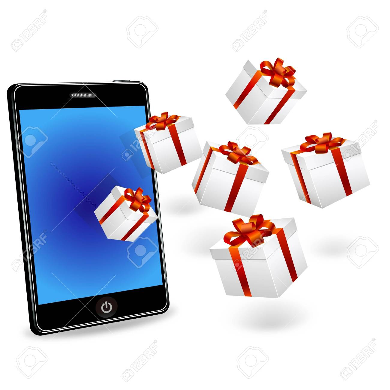 smart phone and gift boxes Stock Photo - 11479670