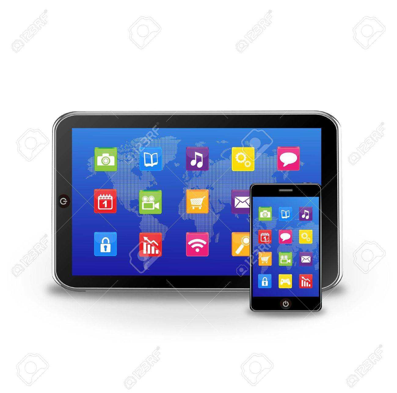 tablet pc and smart phone with applications Stock Vector - 12270208