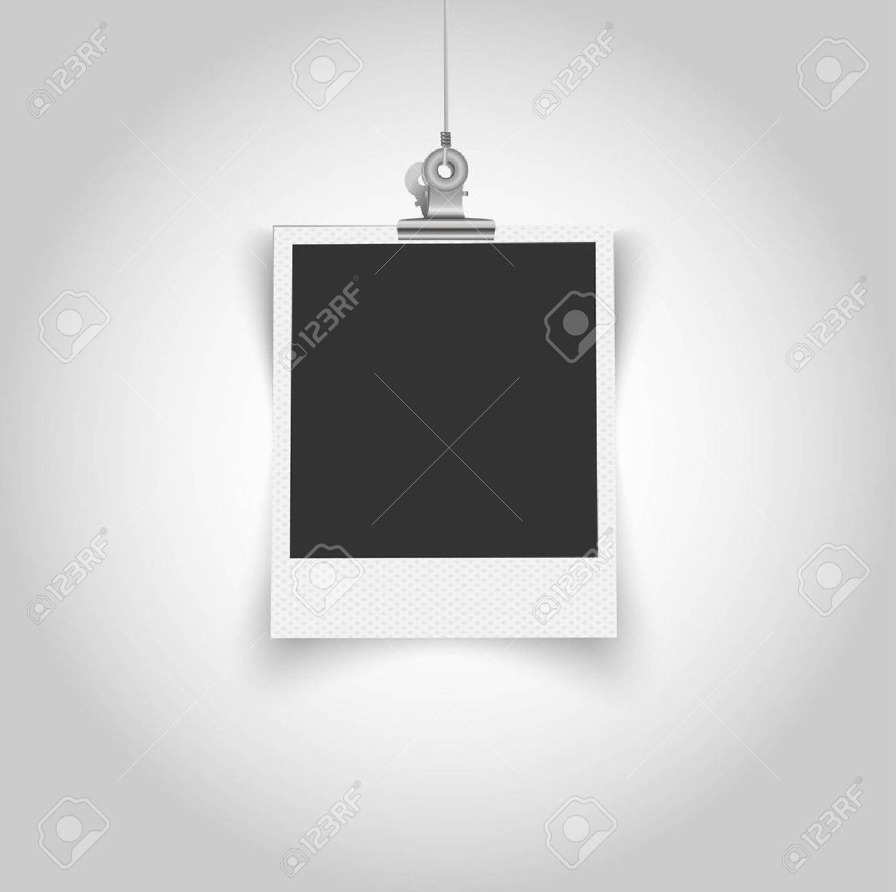 Empty Polaroid Frame With Bulldog Clip Stock Vector
