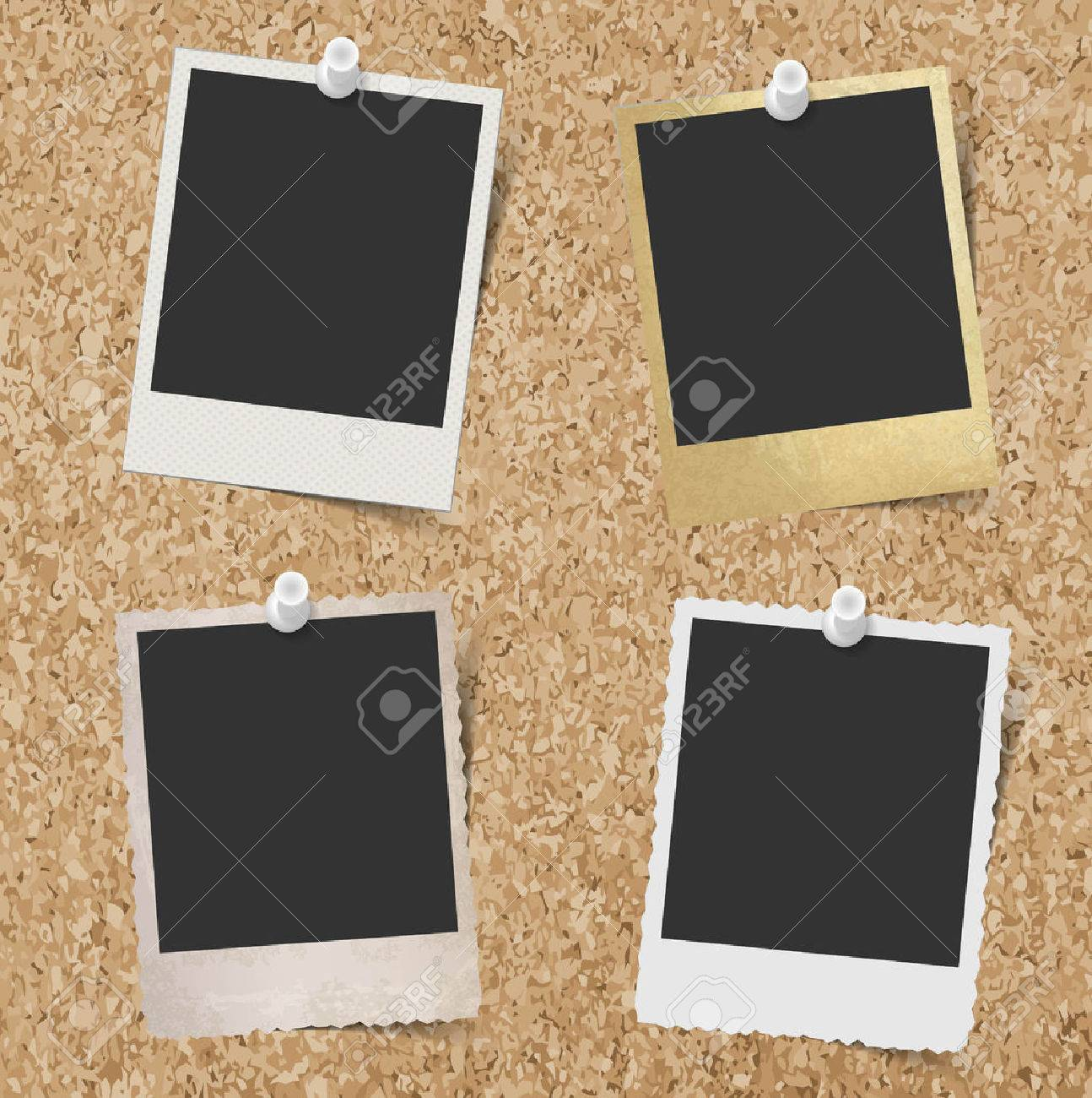 Blank instant photo frames pinned to cork board background - 46693039