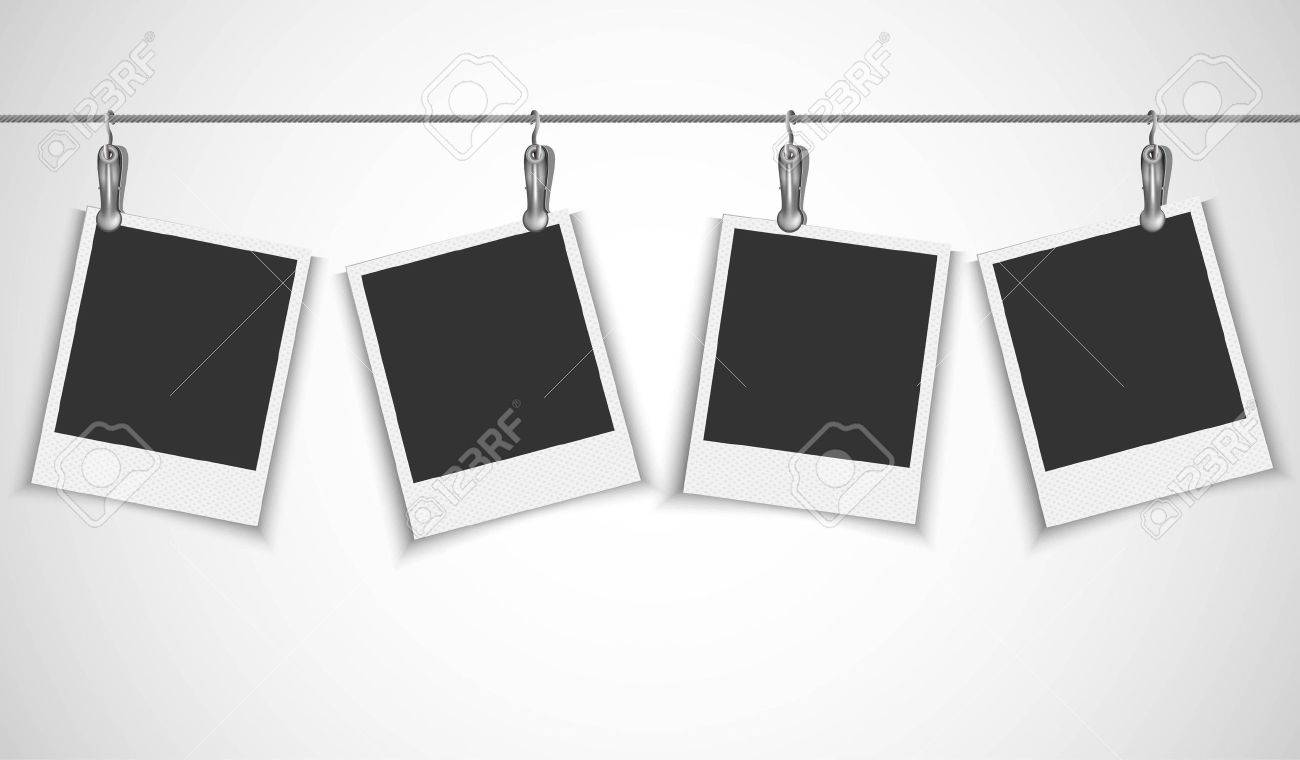 Blank Photo Frame Hanging On A Wire Rope With Metallic Clip Royalty ...