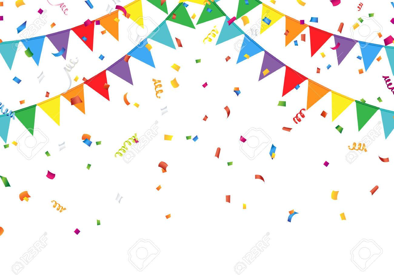 Party flags with confetti - 52506742