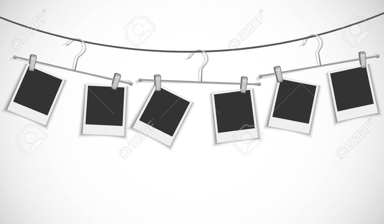 Blank Photo Frame Hanging On A Rope With Clothes Hanger Royalty Free ...