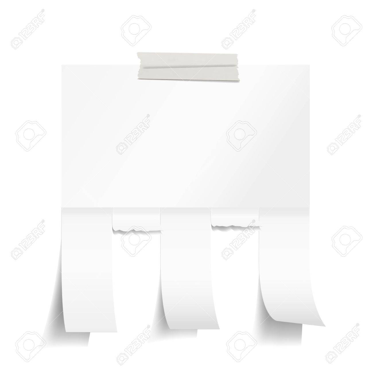 Blank White Paper With Tear Off Tabs Royalty Free Cliparts, Vectors ...
