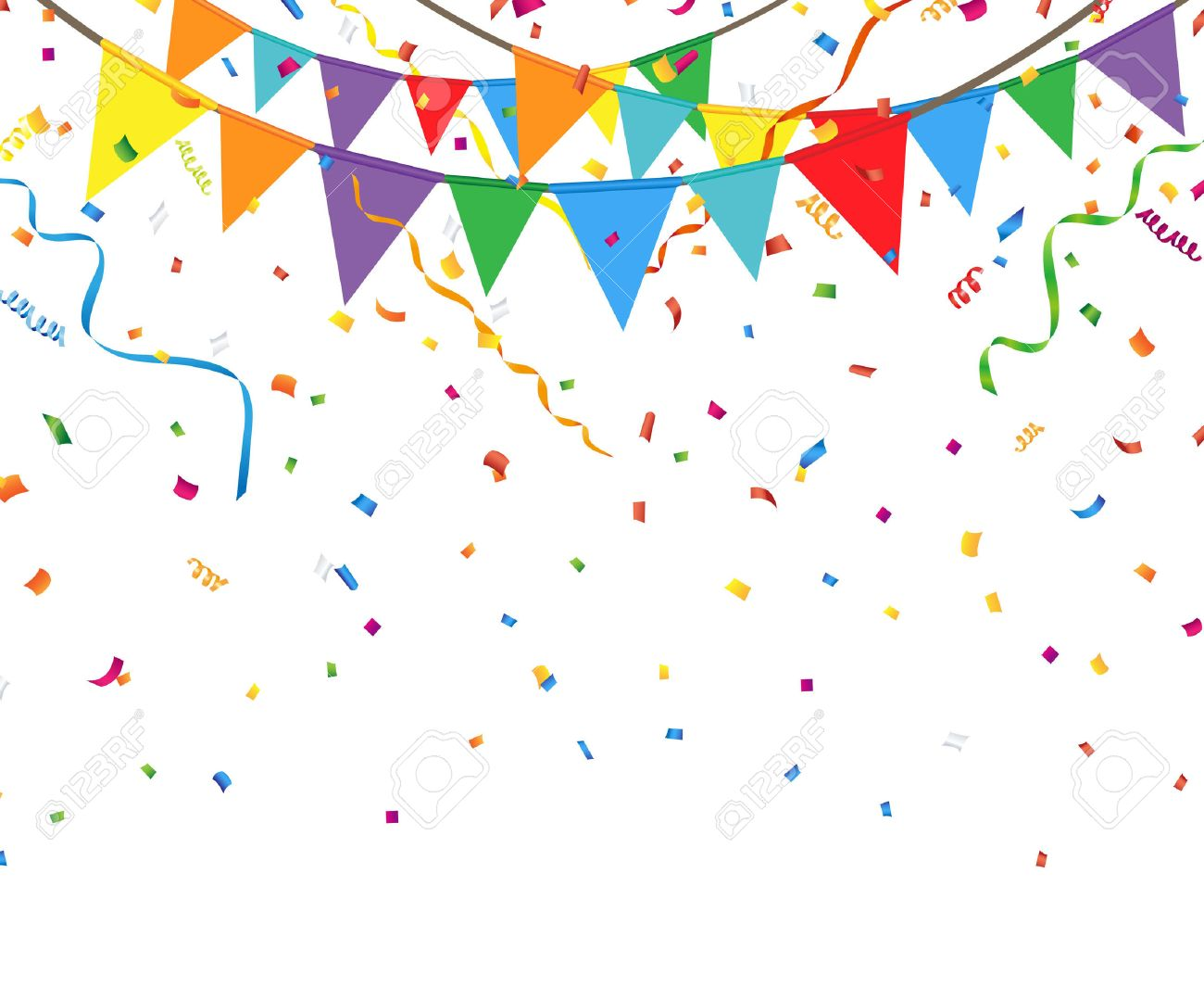 Party flags with confetti and streamer - 54788399