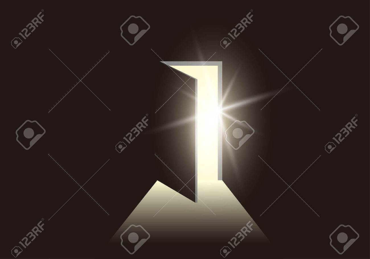 Door opening to show a bright light in the darkness - 55657193