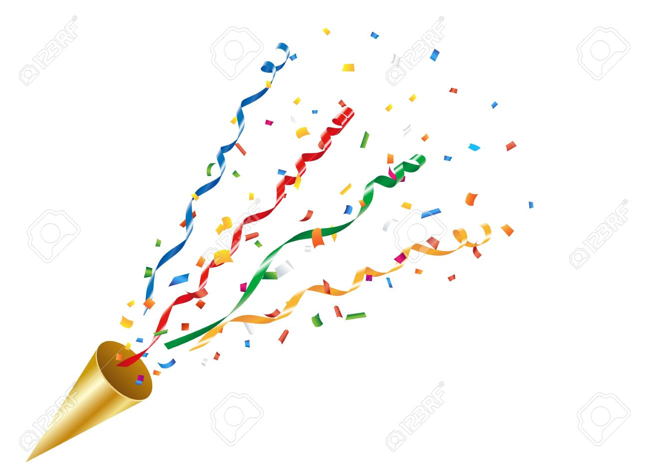 Exploding party popper with confetti and streamer - 55657196