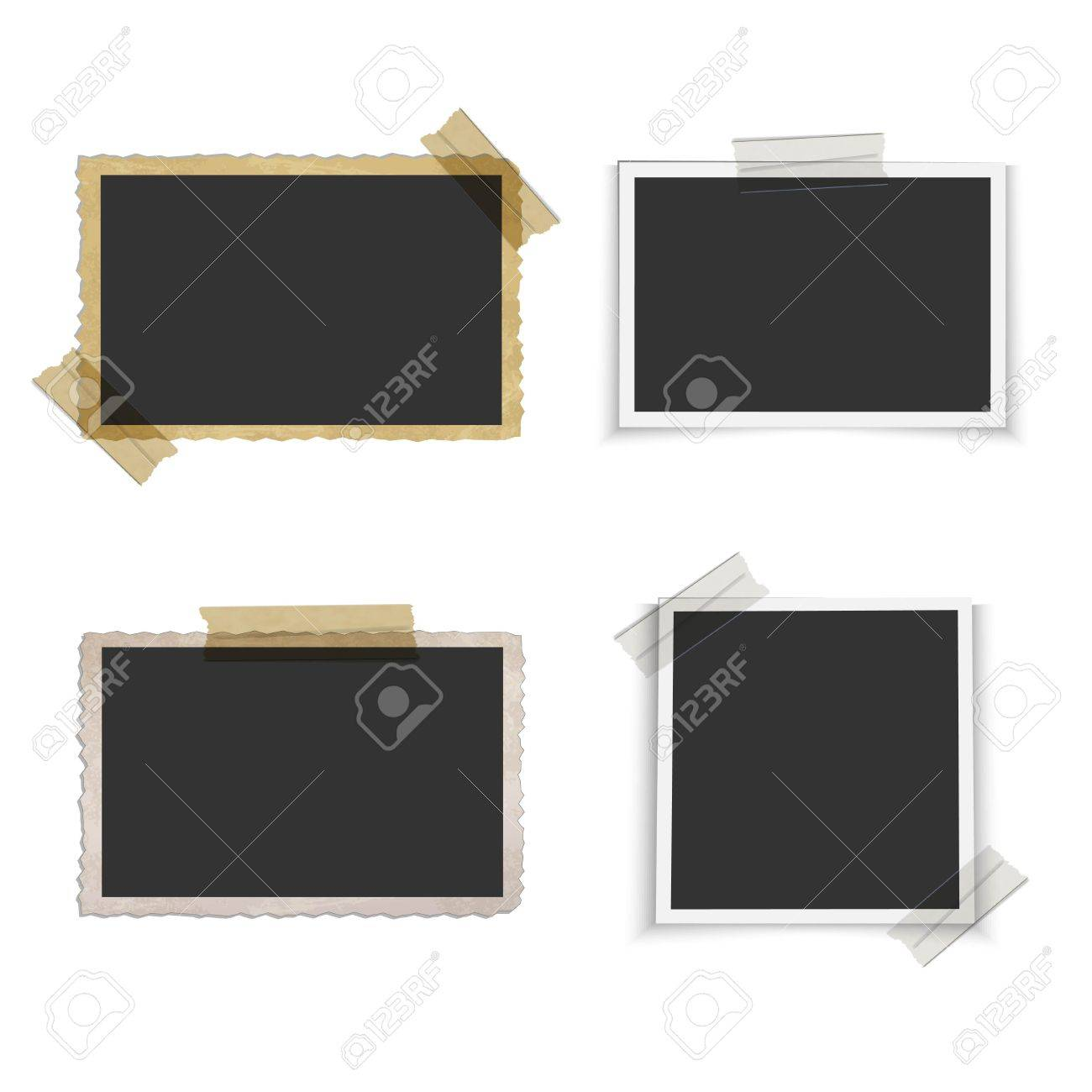 Old blank photo frame with tape - 56409530