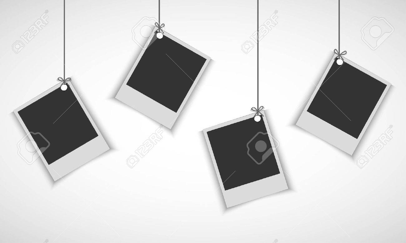 Blank Photo Frame Hanging On Line Royalty Free Cliparts, Vectors ...