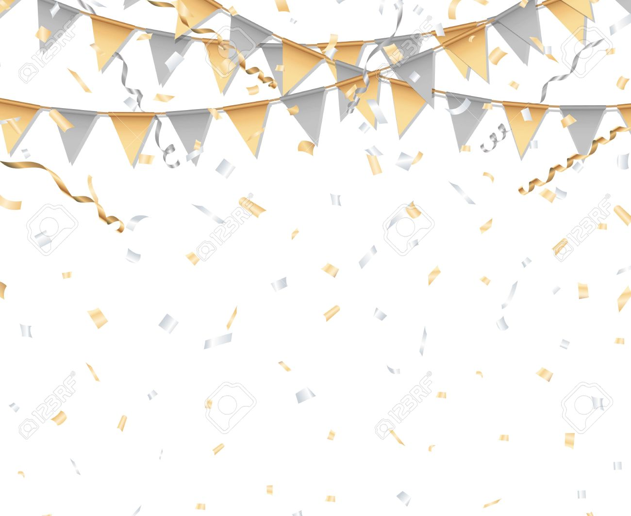 gold and silver party background party flag confetti and streamer